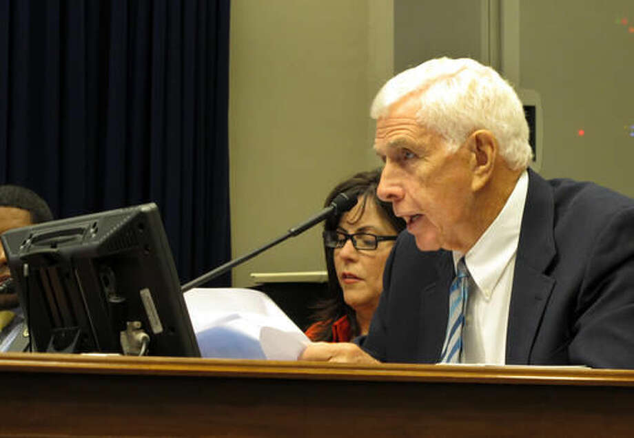 State Rep. Rogers Pope, R-Denham Springs, asks questions about a Medicaid contract during a meeting of the House and Senate health care committees, Thursday, Oct. 6, 2016, in Baton Rouge, La. The committees agreed to a one-year, $46 million contract extension for the company that processes bills for Medicaid services. (AP Photo/Melinda Deslatte)