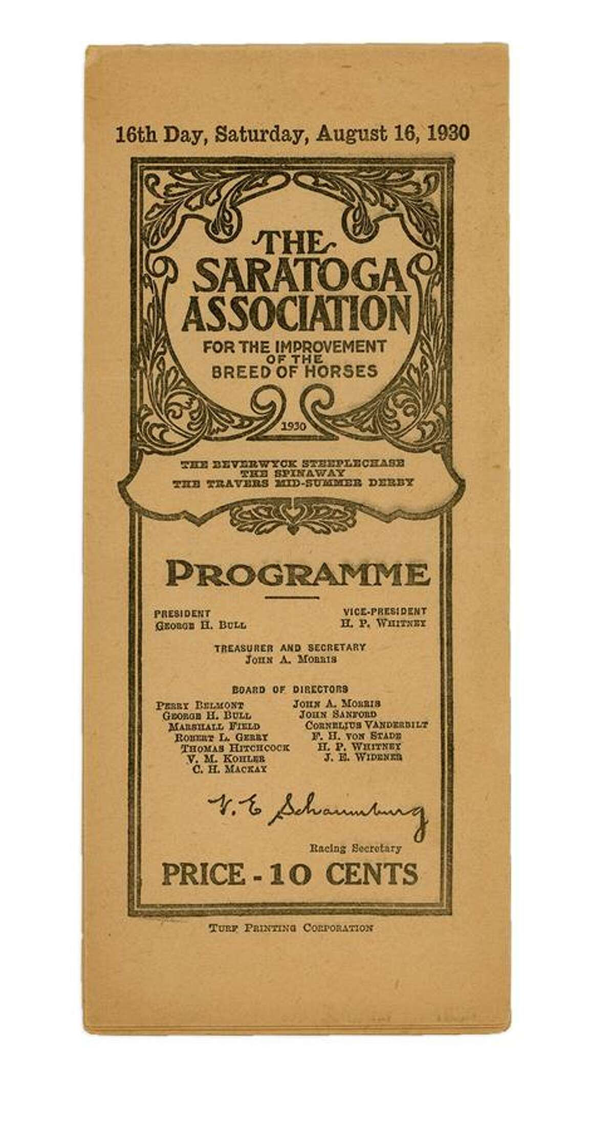 In 1930, Gallant Fox won the Triple Crown, but fell to Jim Dandy in the Travers. Here's a program from the day.