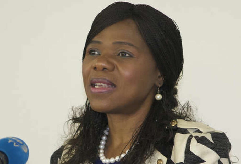 FILE - In this June 7, 2016 file photo, Public Protector Thuli Madonsela addresses journalists in Johannesburg. Madonsela, whose report on spending irregularities at President Jacob Zuma's home galvanized public anger over alleged government graft, leaves her post this month. (AP Photo/Stuart Graham, File)
