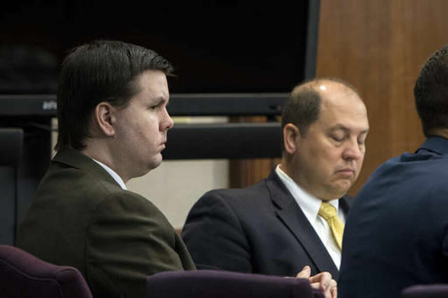 Justin Ross Harris, left, listens to jury selection during his murder trial at the Glynn County Courthouse in Brunswick, Ga., Monday, Oct. 3, 2016. Harris charged with murder after his toddler son died two years ago while left in the back of a hot SUV. (Stephen B. Morton/Atlanta Journal-Constitution via AP, Pool)
