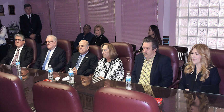 A press conference was held Thursday at the Laredo Chamber of Commerce Conference Room to announce the 2015 Hall of Fame Laureates for Junior Achievement of Laredo. This year's honorees are, from left, Rodolfo and Ruben Bazan, Javier and Nancy de Anda, David T. Newman and Anna b. Galo. The induction ceremony will be held May 14 at the Laredo Country Club. (Photo by Cuate Santos/Laredo Morning Times)
