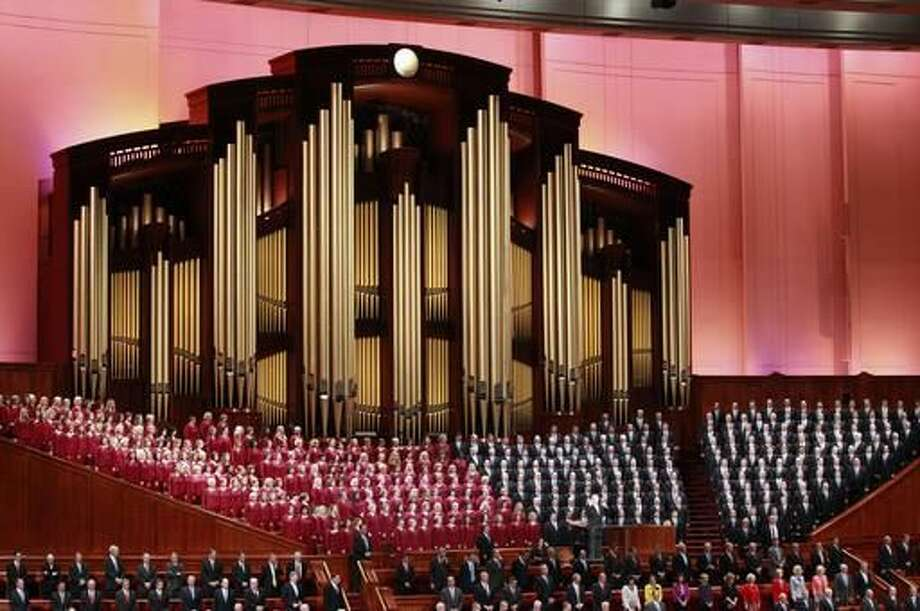 The Mormon Tabernacle Choir of The Church of Jesus Christ of Latter-day Saints, sings in the Conference Center at the morning session of the two-day Mormon church conference Saturday, Oct. 1, 2016, in Salt Lake City. Mormon leaders are set to deliver guidance to their worldwide membership in a series of speeches this weekend during the 186th religion's 186th semiannual conference in Salt Lake City. (AP Photo/George Frey)