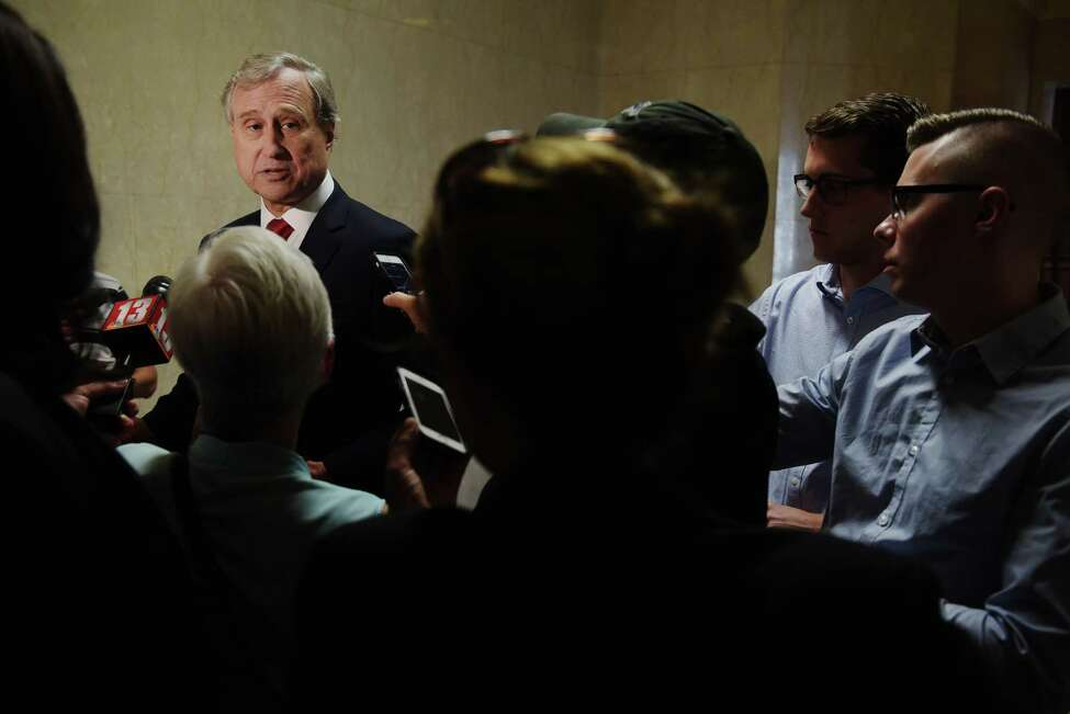 New York Republican Chairman Ed Cox talks with members of the media in the hallway at the Capitol on Tuesday, Sept. 6, 2016, in Albany, N.Y. (Paul Buckowski / Times Union)