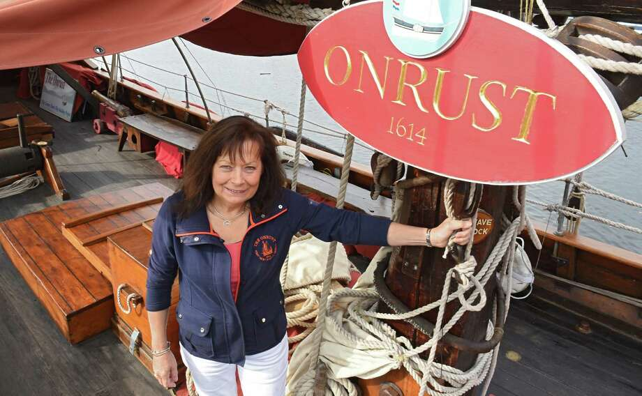 Greta Wagle, president and executive director of The Onrust Project, stands on the Onrust, the replica 17th-century Dutch ship, on Thursday, Oct. 20, 2016 in Rensselaer, N.Y. It will be available to school groups and others in an educational program with the Ft. Crailo historic site. (Lori Van Buren / Times Union) Photo: Lori Van Buren / 20038471A