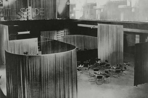 """This undated photo provided by MoMA shows Lilly Reich's """"View of the Velvet and Silk Café,"""" 1927. The image is part of the exhibit at the museum titled """"How Should We Live? Propositions for the Modern Interior."""" (MoMA via AP)"""