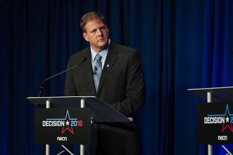 Republican gubernatorial candidate Chris Sununu listens during a televised debate at New England College in Henniker, N.H., on Wednesday, Oct. 5, 2016. (Elizabeth Frantz/Concord Monitor via AP)