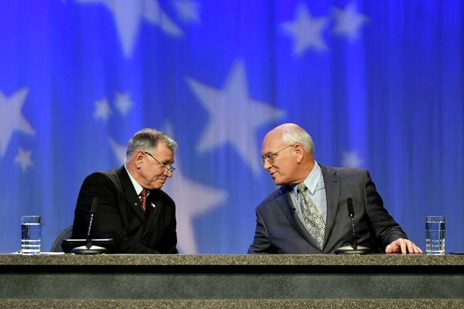 Republican challenger Joe Vitollo, left, and Congressman Paul Tonko (D-Amsterdam) at the conclusion of the 20th Congressional District of New York debate on Thursday, Oct. 20, 2016, at WMHT in North Greenbush, N.Y. (Cindy Schultz / Times Union) Photo: Cindy Schultz / Albany Times Union