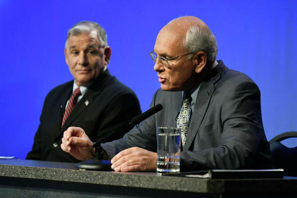 Republican challenger Joe Vitollo, left, and Congressman Paul Tonko (D-Amsterdam) debate for the 20th Congressional District seat on Thursday, Oct. 20, 2016, at WMHT in North Greenbush, N.Y. (Cindy Schultz / Times Union)