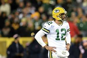 GREENBAY, WI - OCTOBER 20: Quarterback Aaron Rodgers #12 of the Green Bay Packers looks on against the Chicago Bears in the fourth quarter at Lambeau Field on October 20, 2016 in Green Bay, Wisconsin.