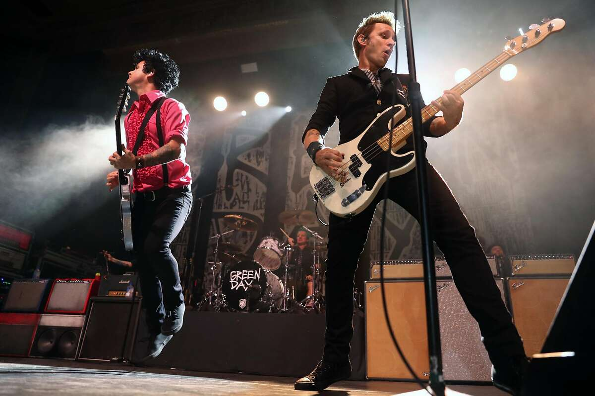 Billie Joe Armstrong and Mike Dirnt of Green Day performs at UC Theater in Berkeley, Calif., on Thursday, October 20, 2016.