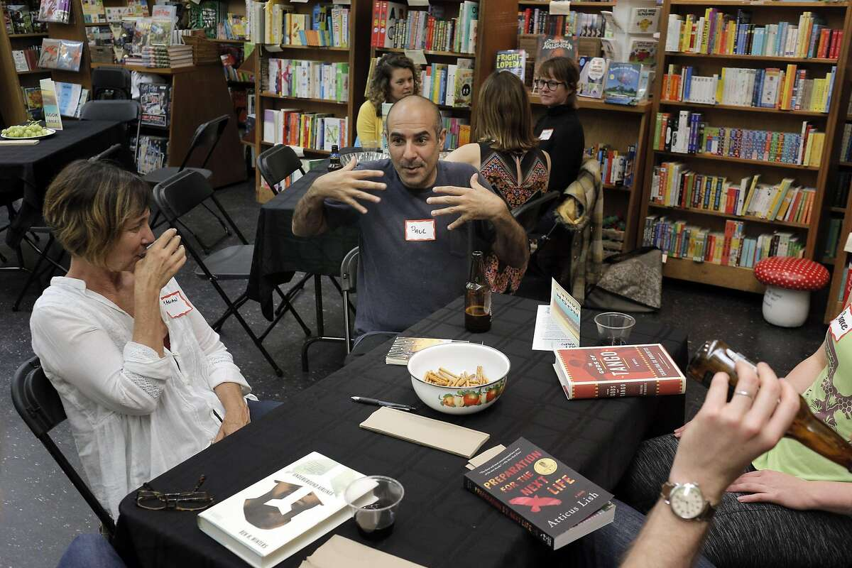 Paul Eshoo talks to his group about the book he chose to read during a Book Swap event at Booksmith Book Store in San Francisco, Calif., on Thursday, October 20, 2016. Book stores have seen a decline in business in recent years, forcing some to close, but Booksmith on Haight has not only made a go of it, they are expanding. By becoming a gathering spot for the neighborhood and putting together over 200 events a year, business is steady.