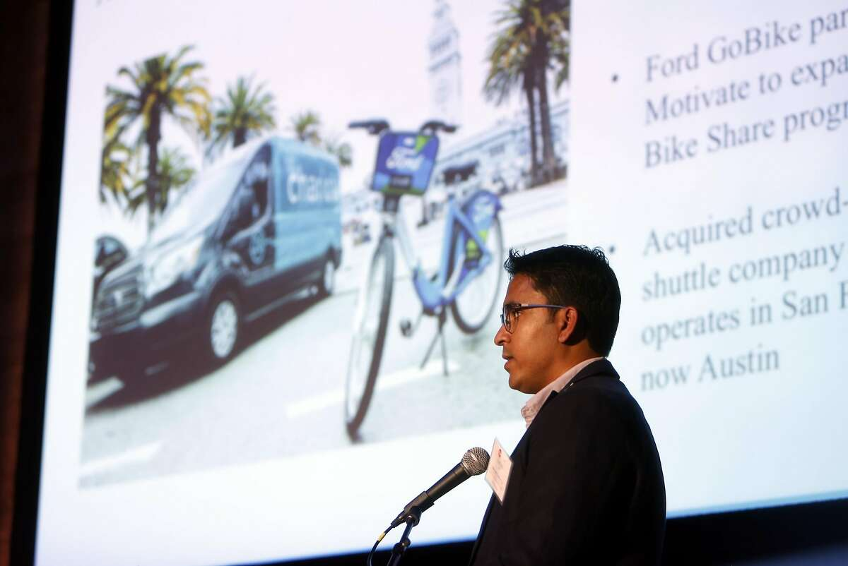 Sudipto Aich, Manager of Mobility Solutions at Ford Research and Innovation, speaks during C3 Group's Connected Mobility Summit in San Francisco, Calif., on Thursday, October 20, 2016.
