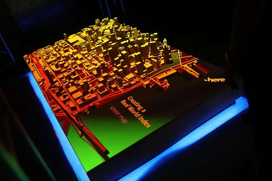 A 3-D map of S.F. is displayed at the conference by Here, a mapping firm whose work underlies most U.S. and European car navigation systems. Photo: Scott Strazzante, The Chronicle