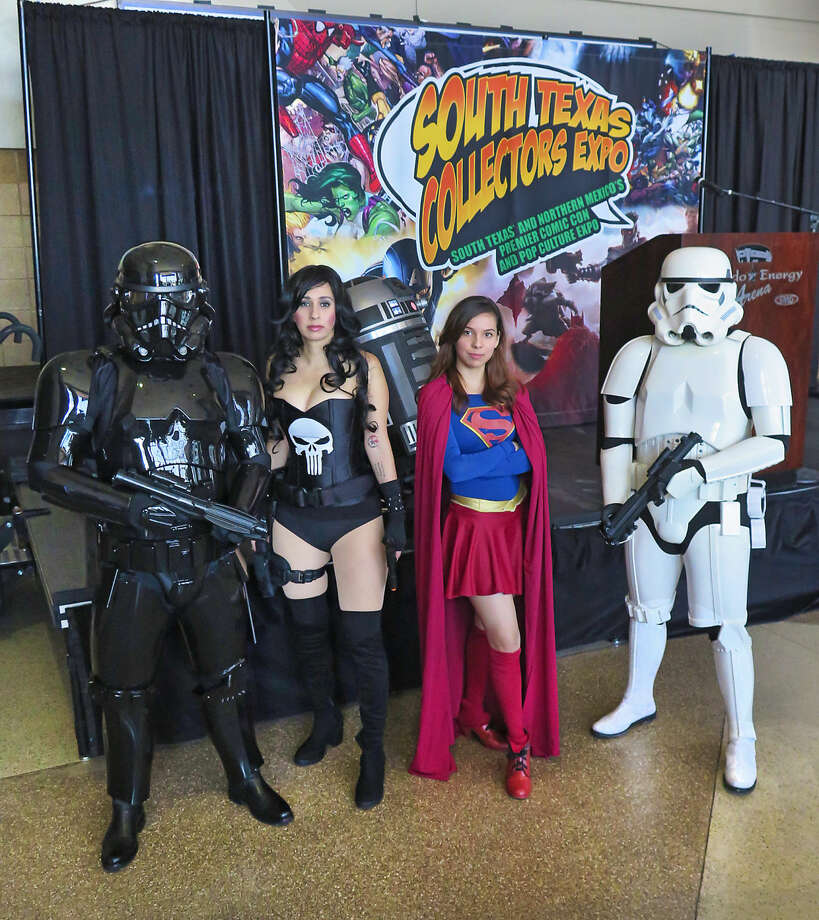 Some of the characters who will be on hand for this weekend's South Texas Collectors Expo at the Laredo Energy Arena posed for members of the media Wednesday morning.  Photo: Cuate Santos / Laredo Morning Times