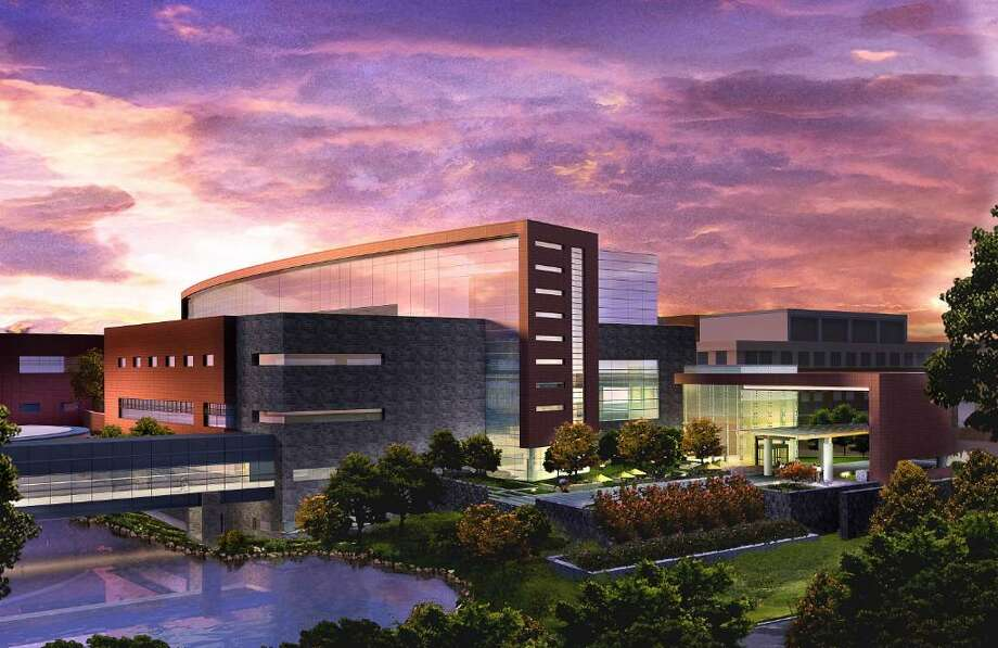An architectural rendering of the front of Stamford Hospital after the first phase of the expansion plan.  The phase will include expanded Emergency Department with ancillary support services in the parking lot of south of the Carl and Dorothy Bennett Cancer Center, in addition to public amenities and a concourse connecting the new building to the existing facility. A public hearing on the hospital's plan is scheduled for Monday. Photo: Contributed Photo, ST / Stamford Advocate Contributed