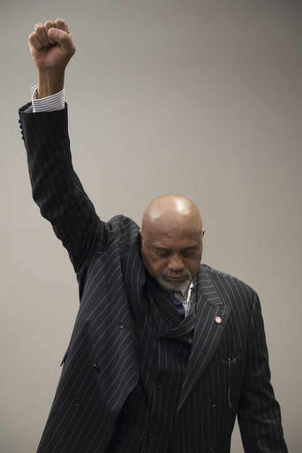Tommie Smith poses for a photo in Washington on Wednesday, Sept. 28, 2016. Smith and John Carlos voiced their support for Colin Kaepernick and other athletes staging national anthem protests, 48 years after they raised their gloved fists on the podium in a symbolic protest at the Olympics. (AP Photo/Sait Serkan Gurbuz)