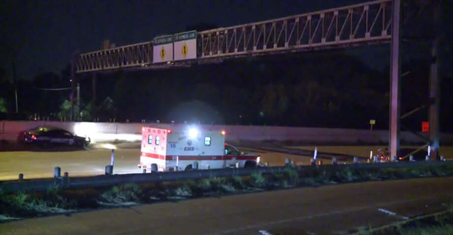 A man died about 11:50 p.m. Thursday, Oct. 20, 2016, when two vehicles hit him as he walked along the outbound North Freeway near Quitman in north Houston. (Metro Video)