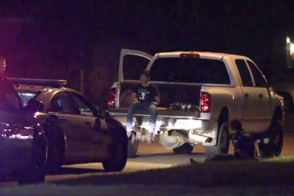 Seven men are in custody after they ran away from officers during a traffic stop in north Houston.