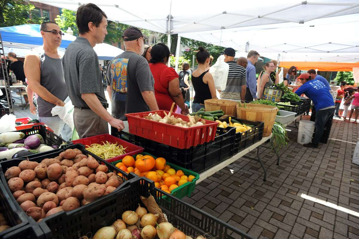 The weekly Farmer?'s Market held in McLevy Square, in Bridgeport, Conn. Aug. 11, 2016. The market is open every Thursday afternoon.