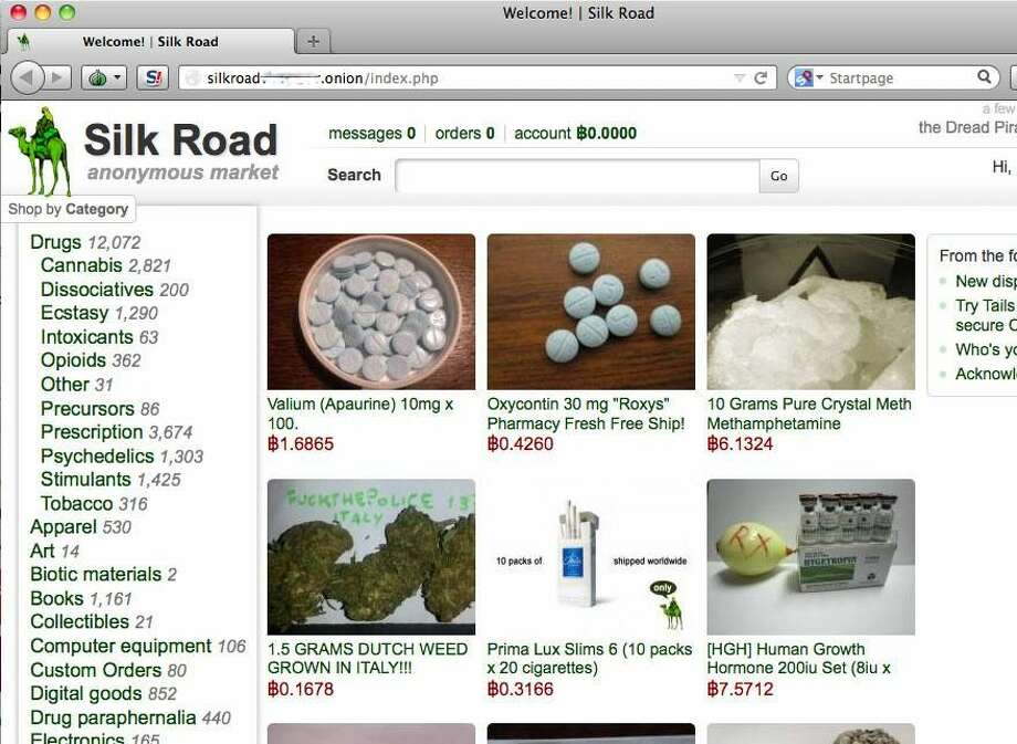A screen shot of the Silk Road website before it was shut down by the FBI.