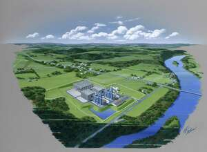 This image shows a rendering of the Panda Power Fund natural gas-fueled power plant in Bradford County, Pennsylvania. This is plant is similar, although much larger, to the one being proposed by Panda to built in New Milford. Panda officials said the New Milford power plant would not draw water from the nearby Housatonic River.