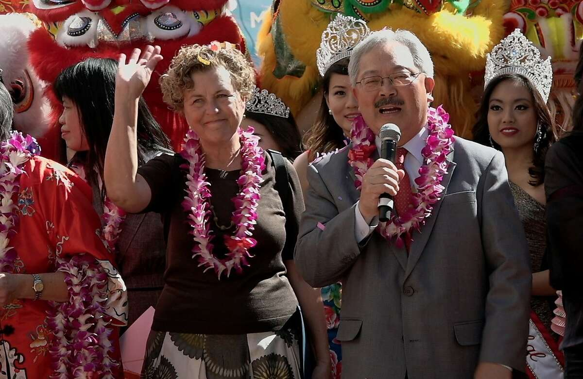 """Former San Francisco Supervisor Julie Christensen with San Francisco Mayor Ed Lee in a still from the documentary """"Company Town."""""""