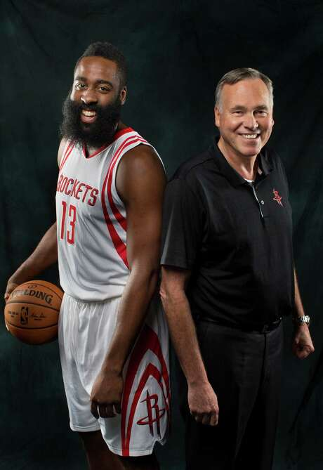 Rockets guard James Harden and coach Mike D'Antoni have formed a mutual admiration society that comes in part from their individual success in the NBA as well as a budding relationship off the court that doesn't involve basketball. Photo: Mark Mulligan, Staff / © 2016 Houston Chronicle