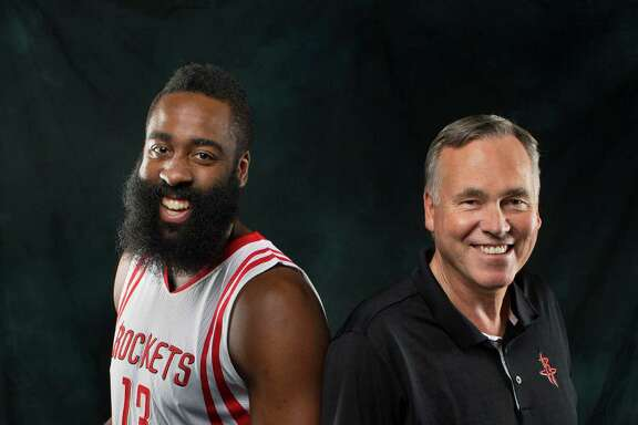 Rockets guard James Harden and head coach Mike D'Antoni on Rockets media day at the Toyota Center Friday, Sept. 23, 2016, in Houston. ( Mark Mulligan / Houston Chronicle )