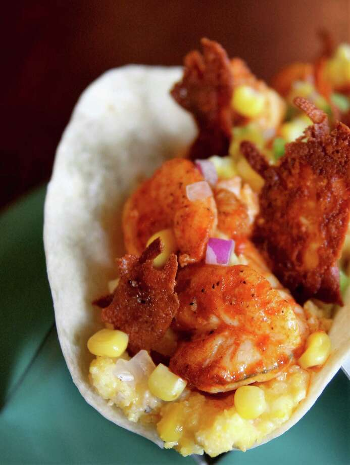 Berryhill Baja Grill corporate chef Alvin Schultz has created a new taco: the Shrimp and Grits Taco which will be available at Berryhill restaurants in November. Photo: Berryhill Baja Grill