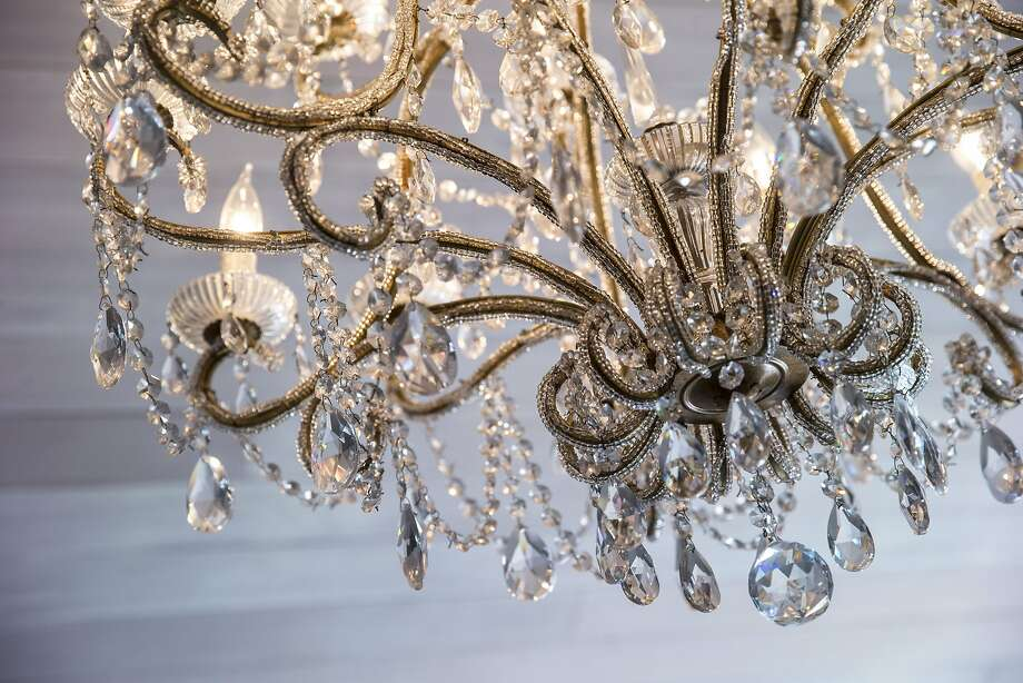 The living room chandelier at the home of Taylor and Oscar Sanin. Photo: Santiago Mejia, The Chronicle