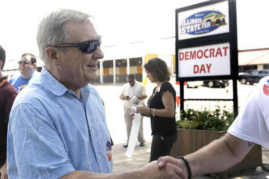 FILE - In this Aug. 18, 2016, file photo, Sen. Dick Durbin, D-Ill., participates in a political rally during Democrats Day at the Illinois State Fair in Springfield, Ill. Democrats are sounding increasingly concerned about their chances of retaking control of the Senate, as Republicans demonstrate a commanding fundraising advantage and Hillary Clinton's lead narrows in key battleground races. (AP Photo/Seth Perlman, File)