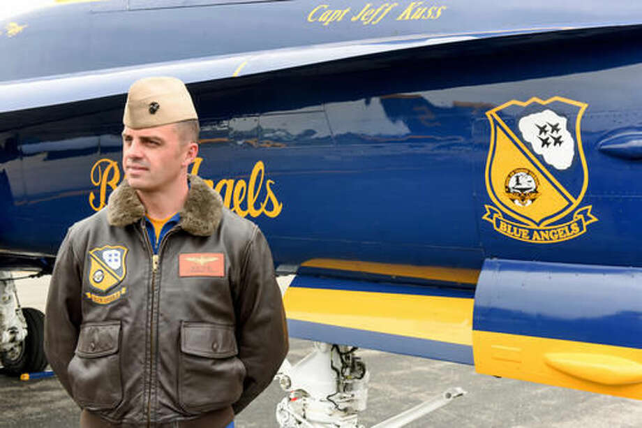 This May 19, 2016, photo shows Marine Capt. Jeff Kuss at an air show in Lynchburg, Va. A report cited pilot error as the primary cause of the crash that claimed the life of Kuss while he was preparing for an air show June 2 outside Nashville. The report, released Thursday, Sept. 15, 2016, said Kuss' jet was traveling too fast and too low as he transitioned from a high-performance climb into a Split-S maneuver. (Matt Bell/The Register & Bee via AP)