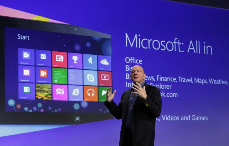 Microsoft CEO Steve Ballmer gives his presentation at the launch of Microsoft Windows 8, in New York, in this Oct. 25, 2012 file photo. Microsoft is retooling the latest version of its Windows operating system to address complaints and confusion that have been blamed for deepening a slump in personal computer sales. The tune up announced Tuesday May 7, 2013 won't be released to consumers and businesses until later this year. (AP Photo/Richard Drew, File)
