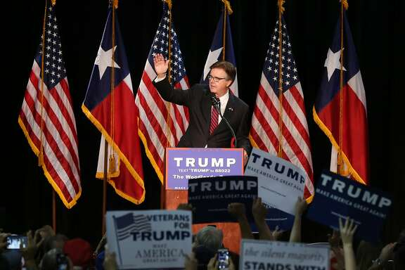 Texas Lt. Gov. Dan Patrick speaks before Donald Trump during a campaign rally at the Woodlands Waterway Marriott, Friday, June 17, 2016, in The Woodlands. ( Jon Shapley / Houston Chronicle )