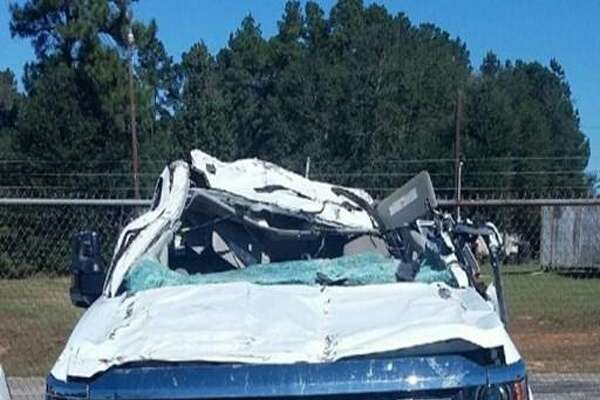 John Ulmer Smith, 63, of Brokeland, was seriously injured in a Friday morning crash when his Chevrolet truck came in contact with logs sticking out the back of a log truck on U.S. 96.