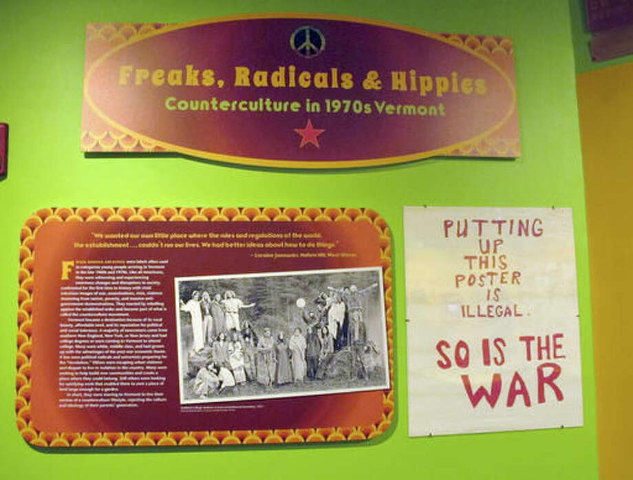 "In this Thursday, Sept. 22, 2016 photo, a portion of the exhibit ""Freaks, Radicals & Hippies,"" a new show about the state in the 1970s, is on display at the Vermont History Center in Barre, Vt. The exhibit opens on Saturday after two years of research. (AP Photo/Lisa Rathke)"