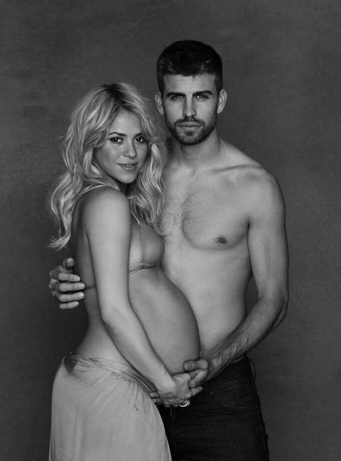 In this undated photo provided by UNICEF, Columbian born singer Shakira poses while pregnant with Spanish soccer player Gerard Piqué.(AP Photo)