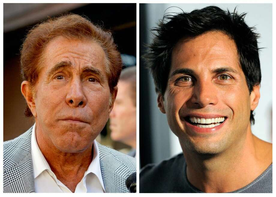 "This photo combination of file photos shows casino mogul Steve Wynn, left, in Los Angeles, and ""Girls Gone Wild"" founder Joe Francis, in Los Angeles. A judge has cut casino mogul Steve Wynn's slander verdict against ""Girls Gone Wild"" founder Joe Francis by $21 million, more than half of the original $40 million jury verdict. A jury found that Francis slandered Wynn when he claimed the casino mogul threatened to kill him and bury him in the desert. (AP Photo/Nick Ut, Chris Pizzello, file)"