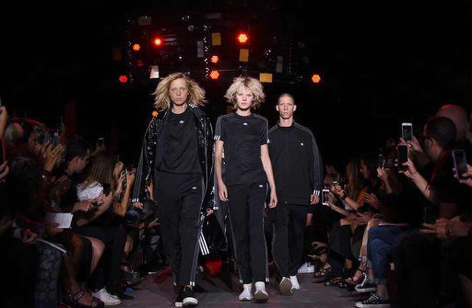 "The ""Adidas Originals by Alexander Wang"" collection is modeled during Fashion Week in New York, Saturday, Sept. 10, 2016. (AP Photo/Diane Bondareff)"