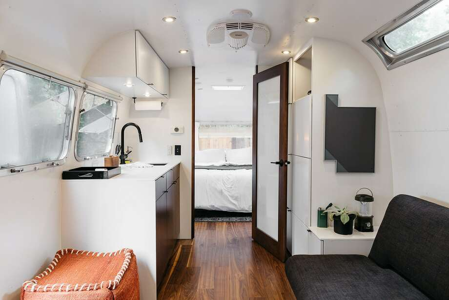 The interiors of the Airstream trailers at Guerneville's AutoCamp feature kitchen amenities as well as sleeping and living quarters. Photo: Melanie Riccardi