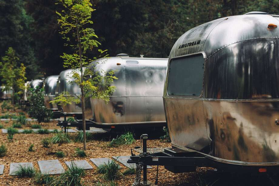 "Airstream trailers, outfitted for guests, are available at AutoCamp Russian River in Guerneville, with 24 trailers, 10 ""glamping"" tents and a clubhouse. Photo: Melanie Riccardi"