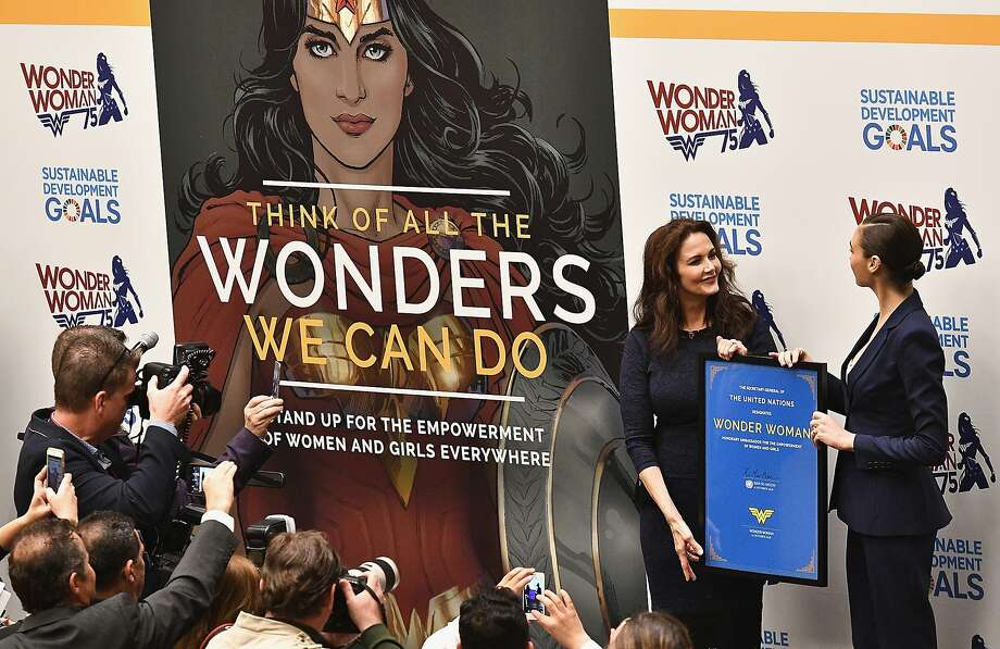 NEW YORK, NY - OCTOBER 21:  : Actors Lynda Carter and Gal Gadot attend the Wonder Woman UN Ambassador Ceremony at United Nations on October 21, 2016 in New York City.  (Photo by Dimitrios Kambouris/Getty Images) Photo: Dimitrios Kambouris, Getty Images