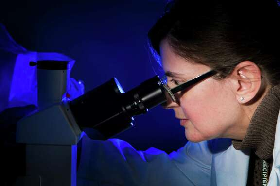 Raffaella Soldi, director of biology of Beta Cat Pharmaceuticals, looks through a microscope at the Johnson & Johnson Innovation JLABS business incubator not far from the Texas Medical Center.