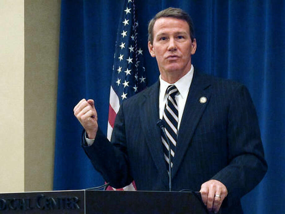 """FILE - In this Jan. 30, 2014, file photo, Ohio Secretary of State Jon Husted provides an overview of voting initiatives at a legislative forum hosted by The Associated Press in Columbus, Ohio. A day after the FBI's director told Congress there have been additional """"attempted intrusions"""" in voter registration databases, Ohio's elections chief, Husted, said Thursday, Sept. 29, 2016, there's been no attempt to breach Ohio's voter registration system. (AP Photo, File)"""