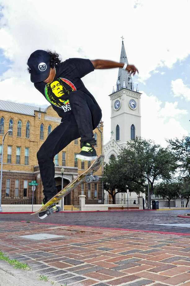 Raul Saldaña does an ollie along the streets of downtown Laredo Thursday afternoon. Laredo saw triple digits in the last few days, after experiencing heavy rainfall last week. The National Weather Service in Corpus Christi has issued a special weather statement each day this week, advising of heat index values between 105 and 109 degrees in the afternoon. (Photo by Ulysses S. Romero/Laredo Morning Times)