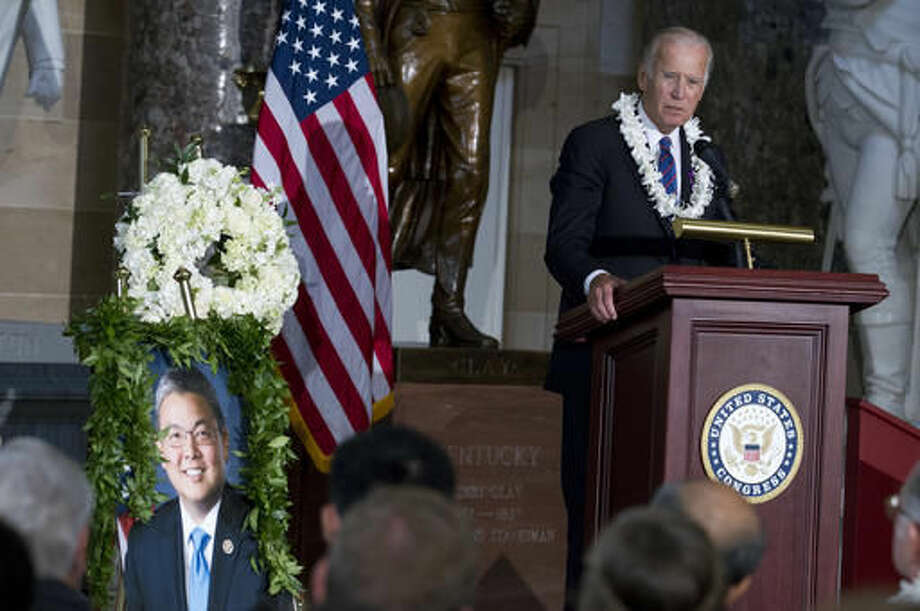 Vice President Joe Biden speaks on Capitol Hill in Washington, Wednesday, Sept. 14, 2016, during a Celebration of Life ceremony for Hawaii Rep. Mark Takai. Takai died earlier this year after a months-long battle with pancreatic cancer. ( AP Photo/Jose Luis Magana)