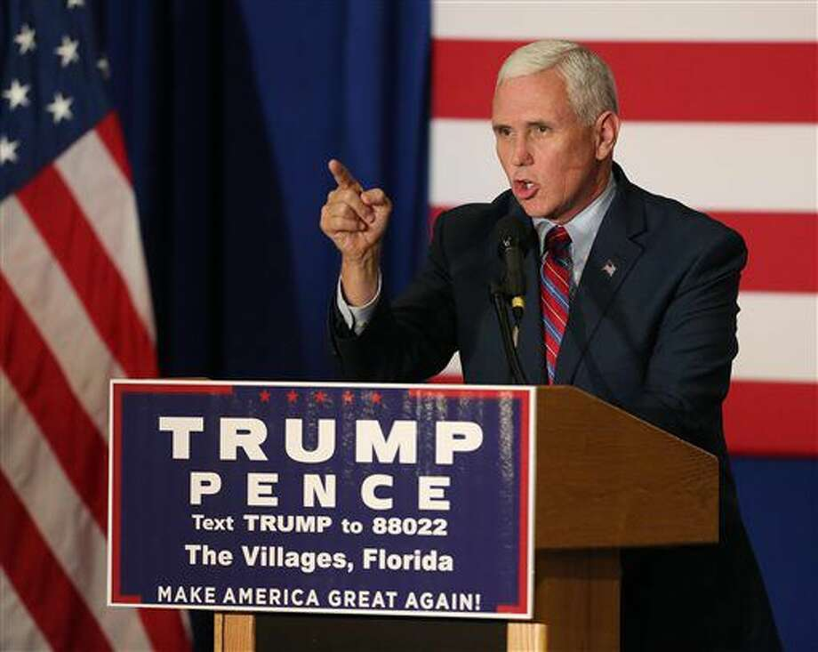 Republican vice presidential candidate Mike Pence speaks at a campaign rally at The Villages, Fla., on Saturday, Sept. 17, 2016. (Stephen M. Dowell/Orlando Sentinel via AP)
