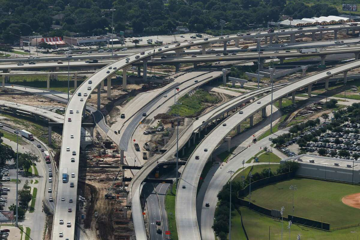 Aerial view of construction at U.S. 290 and Loop 610 on Sept. 7. Texas transportation officials are investing $18 million in a test of giving people information about options other than driving, citing the need to reduce congestion.
