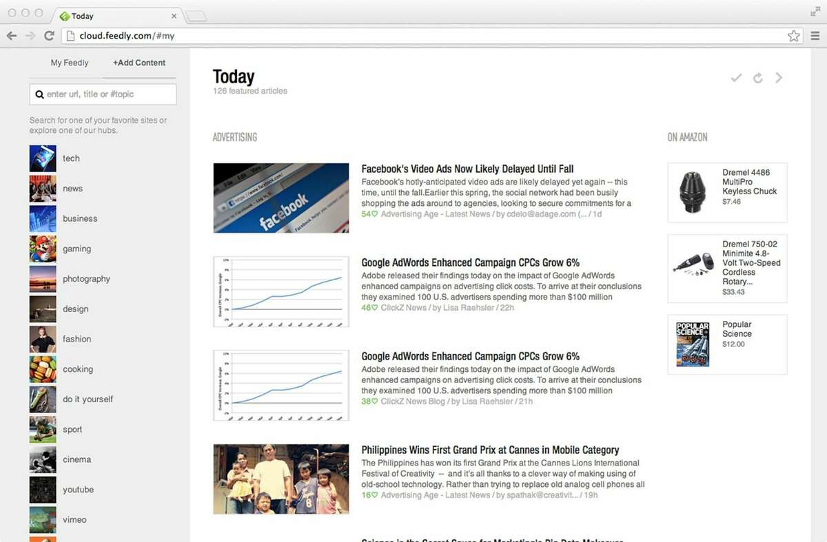 This Wednesday, June 19, 2013 image shows a Web browser with Feedly, a replacement for Google Reader, a tool for bringing headlines and articles from your favorite websites into a single place. (AP Photo)