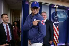 Comedian Bill Murray (C) gestures as he visits the James Brady Press Briefing Room at the White House October 21, 2016 in Washington, DC. Murray is in Washington to receive the 2016 Mark Twain Prize for American Humor at the Kennedy Center on Sunday.  (Photo by Alex Wong/Getty Images)